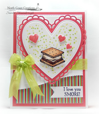 North Coast Creations Stamp and Dies: S'more Love, Paper Collection:  Sweet Shoppe, ODBD Custom Dies: Ornate Hearts, Leafy Edged Borders, Pennant Flags, Double Stitched Rectangles