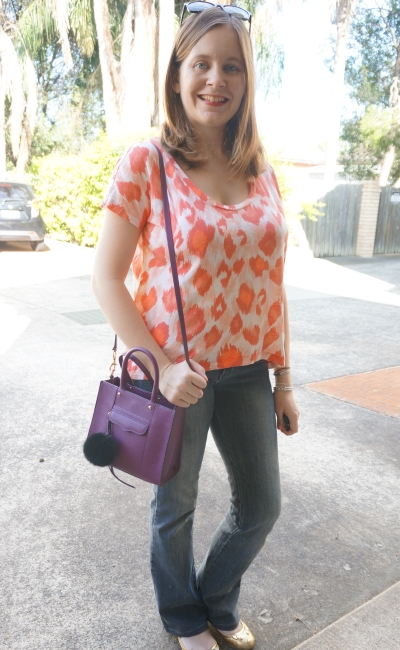 Away From Blue Orange and Purple Outfit Sass & Bide Tee flares and flats