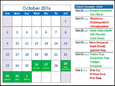 Diwali Calender 2016