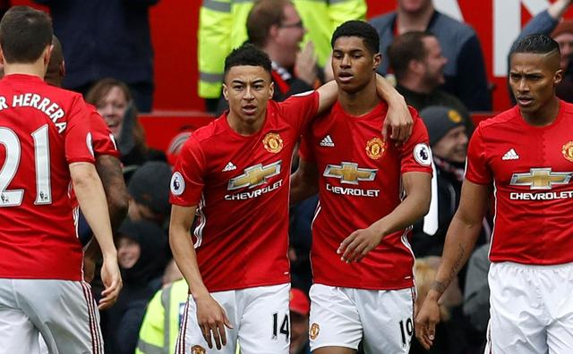 Manchester United Jesse Lingard, Marcus Rashford, Antonio Valencia