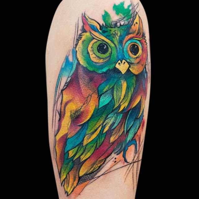 Watercolor Owl Tattoos Design