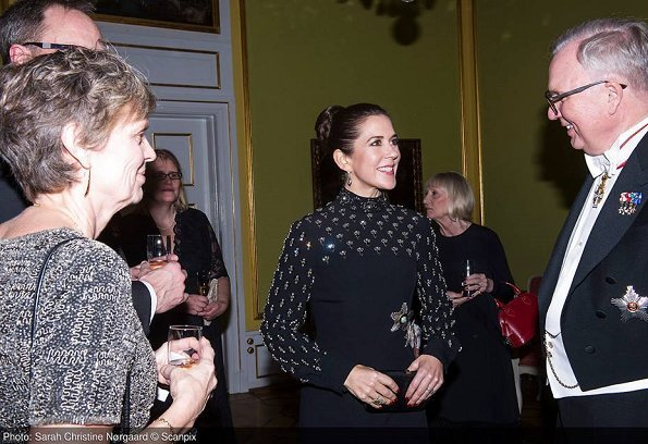 Crown Princess Mary at Finland's Suomi100 anniversary. Alexander McQueen Embroidered long dress