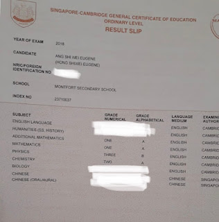2018 O'level Results of Eugene Ang Shi Wei from Monfort Sec Sch