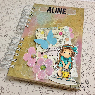 agenda personalizada 2017 tilda magnolia copic capa decorada textura scrap scrapbook scrapbooking paper craft crafting diy pretty memories