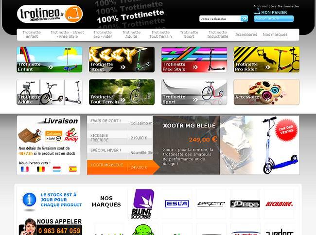 vue du site de vente en ligne de trottinettes, Trotineo.fr