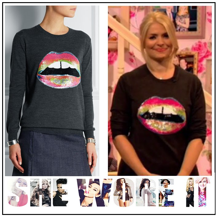 Blue, Celebrity Juice, Charcoal Grey, Green, Holly Willoughby, Jumper, Lara, Lip Motif, Markus Lupfer, Pink, Sequined, Sweater, Wool,
