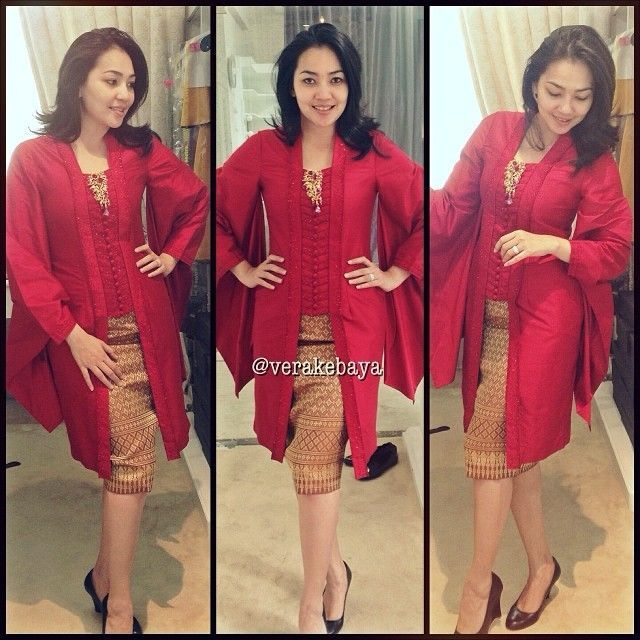 Model Vera Kebaya Warna Merah Modern Terbaru