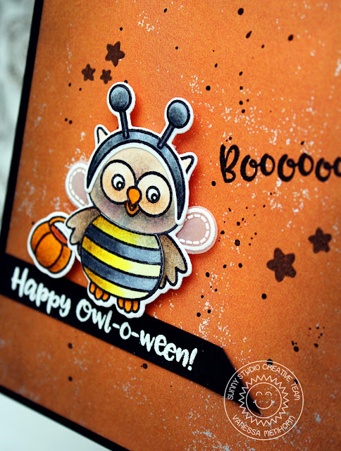 Sunny Studio Stamps: Happy Owl-o-ween Bumble Bee Halloween Card by Vanessa Menhorn