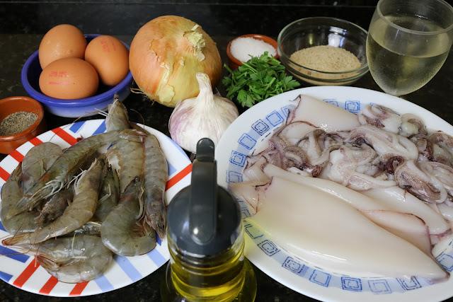 Ingredientes para calamares rellenos