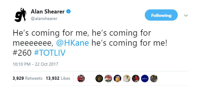 Alan Shearer is worried that Harry Kane is getting close to his all-time Premier League goalscoring record