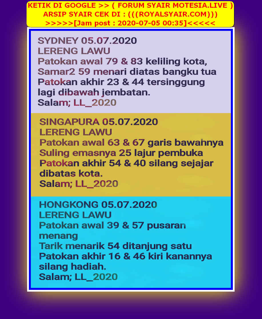 Kode syair Singapore Minggu 5 Juli 2020 49