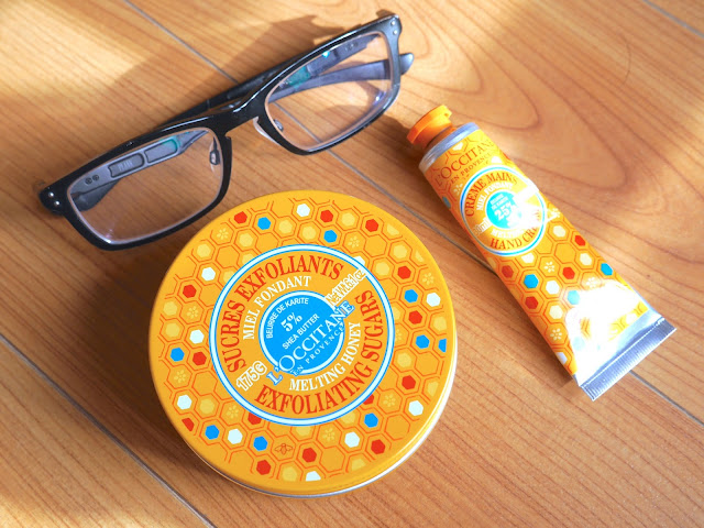 L'occitane melting honey exfoliating sugars body scrub and  hand cream, review