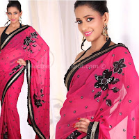 Sanjana latest saree poses