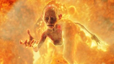 Gollum. Otro villano que cae al fuego