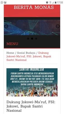 Dukung Jokowi - Ma'ruf, FSI: Jokowi, Bapak Santri Nasional
