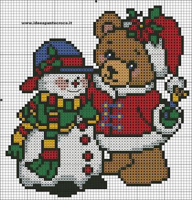 Mais de 50 Ideias Para Decorar No Natal. ursinhos Em Ponto Cruz Com Diagramas