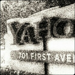 Grainy black and white photo of Yahoo corporate office.