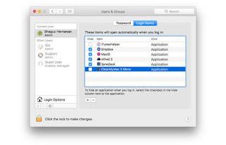 Membersihkan Login Item Komputer Mac MacBook Pro