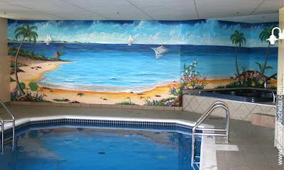 Mural lukis dinding tembok di kolam renang