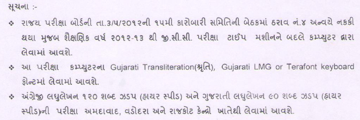 GCC Exam 2013 - Mehul Rathava: Exam will taken on Computer and Fonts