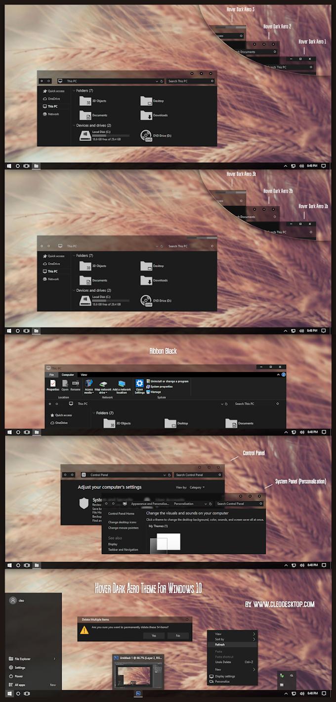 Hover Dark Aero Theme For Windows 10