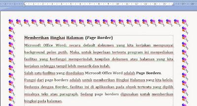contoh penggunaan bingkai halaman page borders
