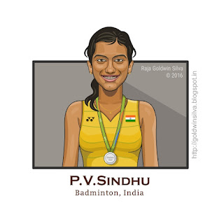 PV Sindhu Cartoon Caricature
