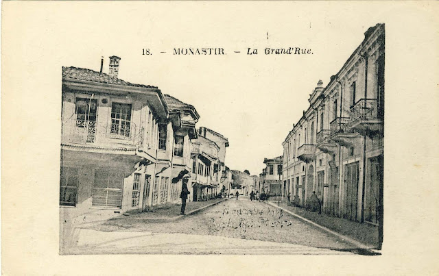 "Sirok Sokak Street with hotel ""Bosna"", on the right side and the old houses before the bombing."