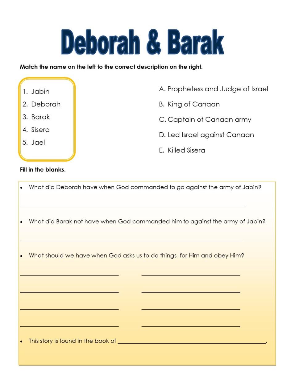 deborah judges 4 coloring pages - photo #49