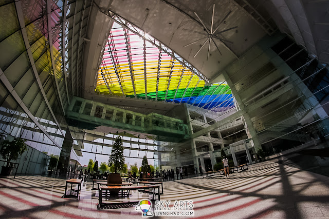 The colorful rainbow rooftop of Calvary Convention Centre