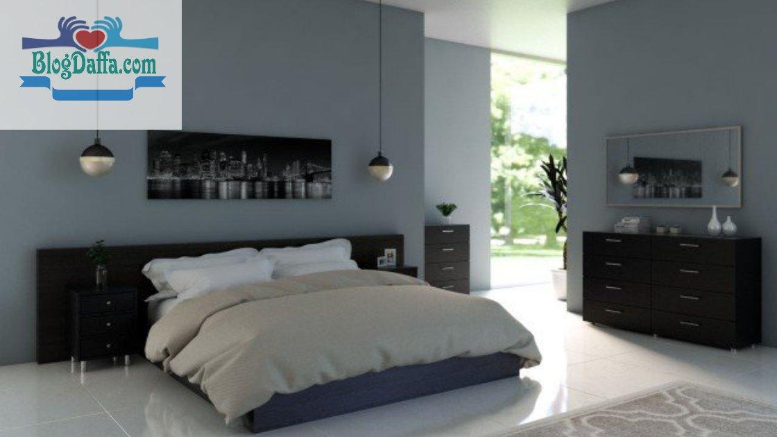 Warna cat kamar tidur biru baja