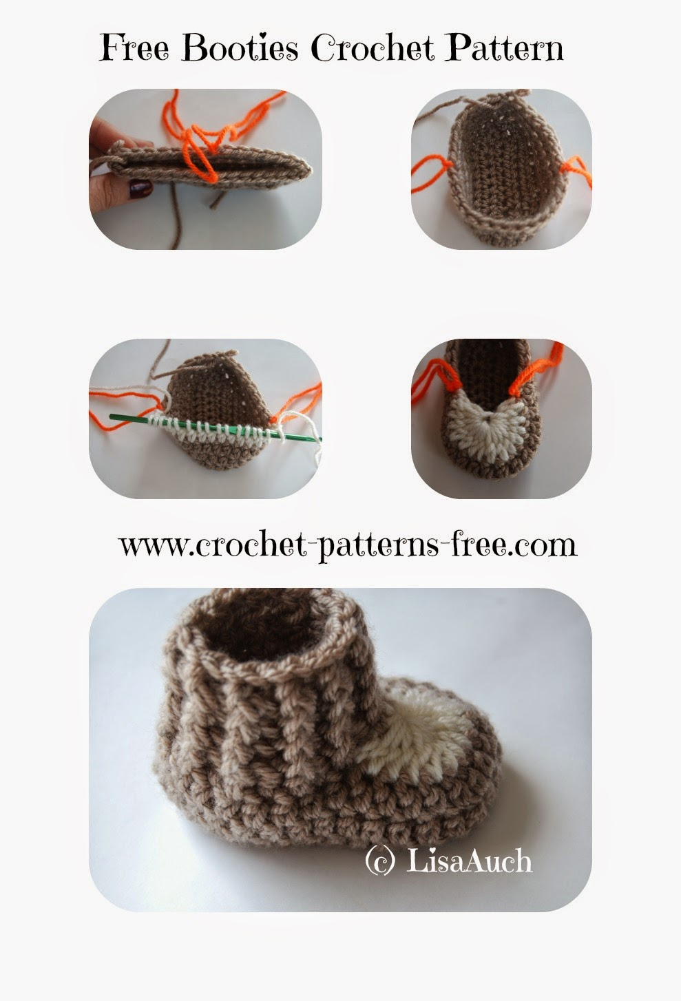10 minute Easy Crochet Booties Pattern | Free Crochet Patterns and ...