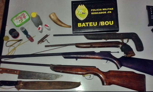 Roncador: PM prende homem com espingardas e armas caseiras