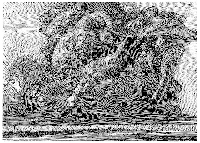 a Franklin Booth illustration, storm over a city