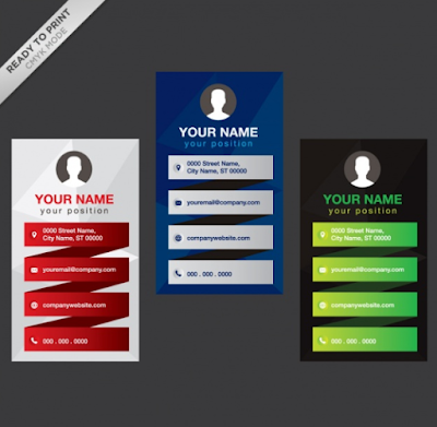 Contoh Kartu Nama - Red Blue Green Business Card Designs