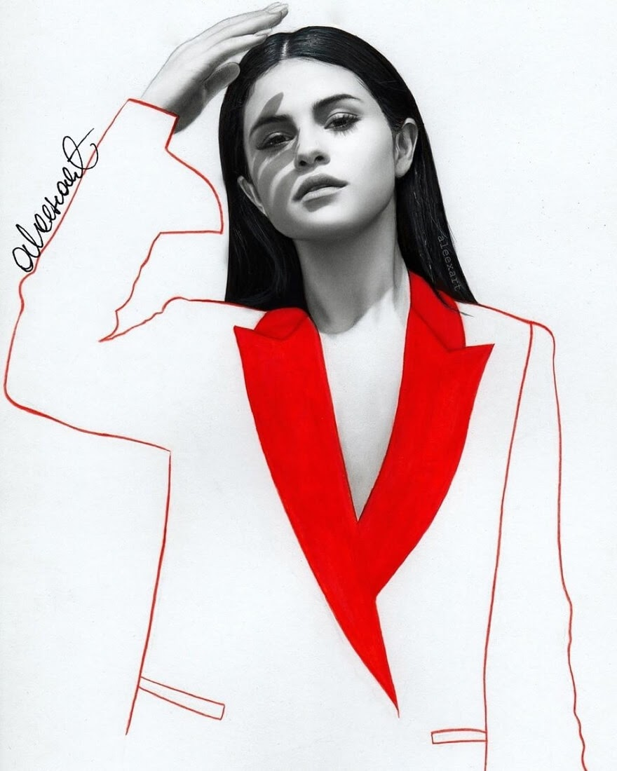 11-Selena-Gomez-Alex-Manole-Celebrities-Drawn-in-Realistic-Portraits-www-designstack-co