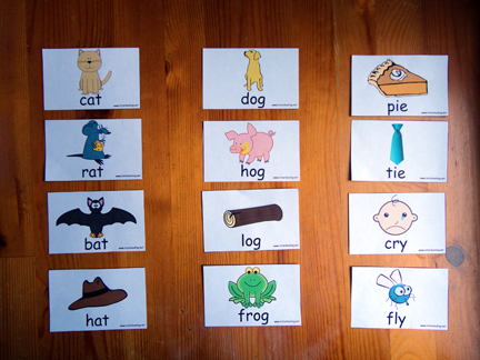photograph about Rhyming Game Printable titled Rhyming Sorting Activity with Totally free Printable Totschooling