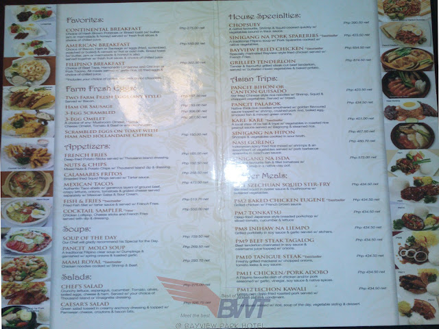bayview hotel restaurant menu and prices