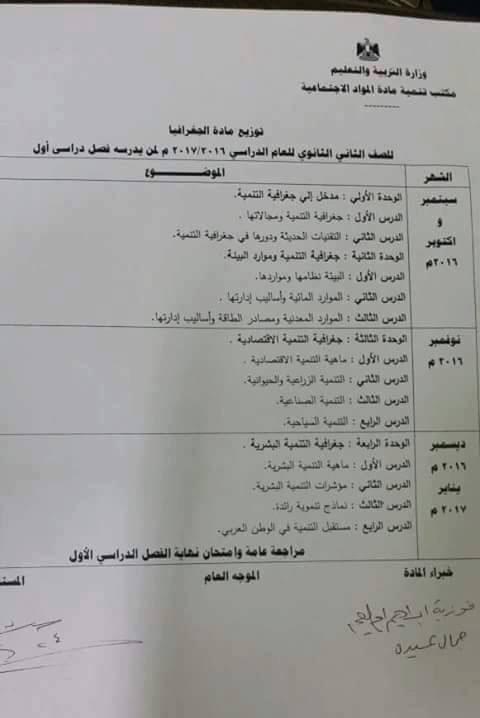 جدول توزيع منهج الجغرافيا لصفوف المرحلة الثانوية