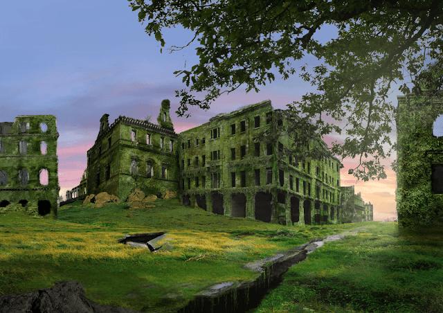 fortaleza abandonada cubierta de hierba