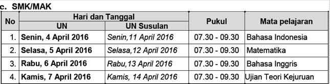 Jadwal UN Sekolah Menengah Kejuruan ( SMK ) dan Madrasah Aliyah Kejuruan ( MAK ) 2016