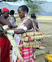 maasai women harvesting and preparing zulugrass