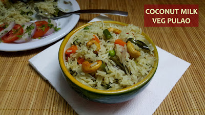 Coconut Milk Pulao / Veg Pulao In Coconut Milk
