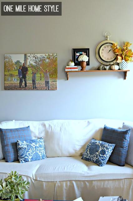 Single shelf living room wall - One Mile Home Style