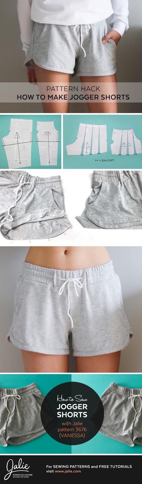Vanessa Jogger Shorts // Pattern Hack (Jalie 3676)