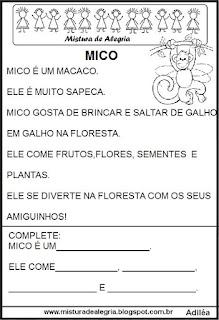 Pequenos textos para alfabetização com macaco