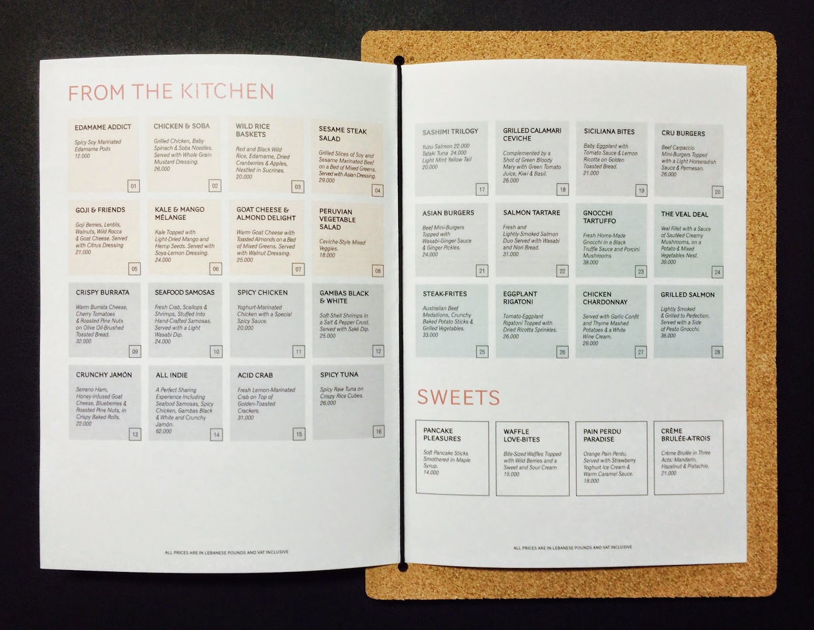 This is how you design a menu for the Lebanese & Middle Eastern market - Indie Beirut menu by Paperview Design