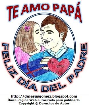 Ilustración al Día del Padre a colores para niños. Dibujo del Día del Padre de Jesus Gómez