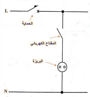 دائرة التحكم في بريزة بواسطه المفاتح العادي