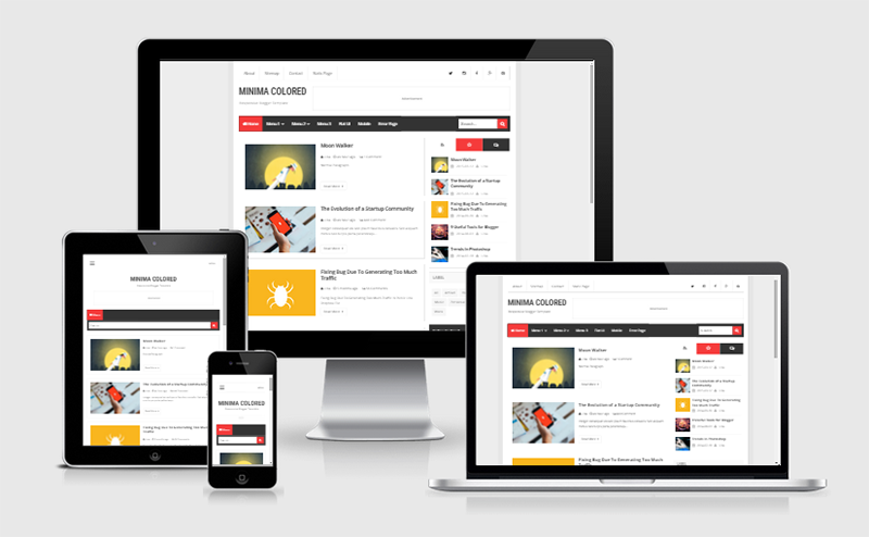 New Minima Colored Responsive Blogger Template
